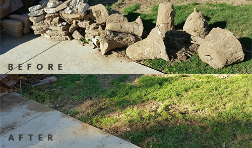 yard debris before and after